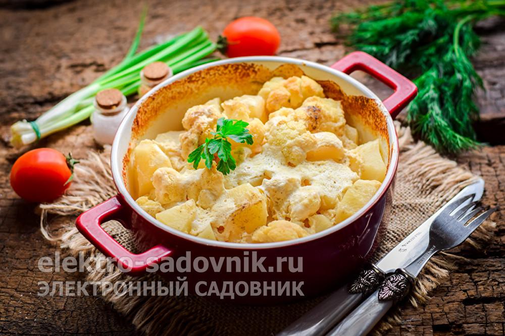 картошка в духовке с цветной капустой