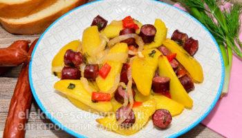 картофель в духовке с колбасками