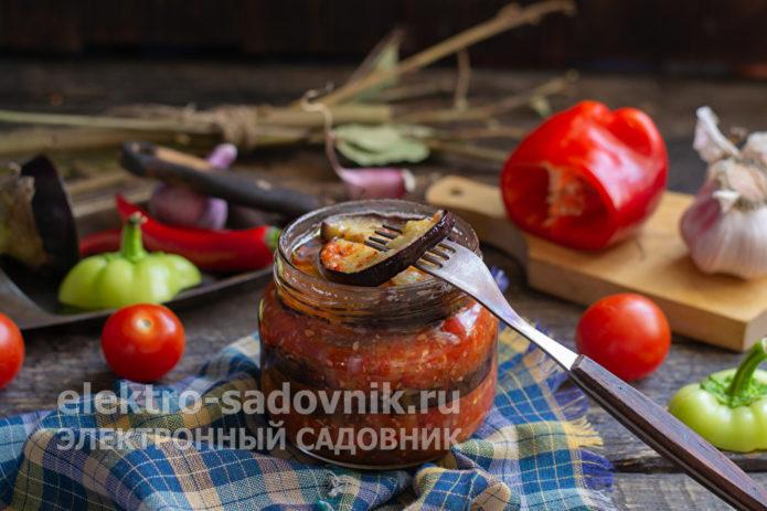 баклажаны на зиму с болгарским перцем и чесноком