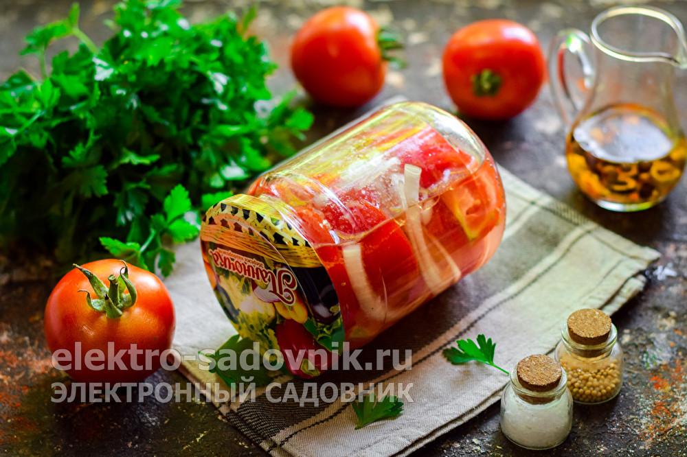 обалденные помидоры дольками на зиму с маслом и луком
