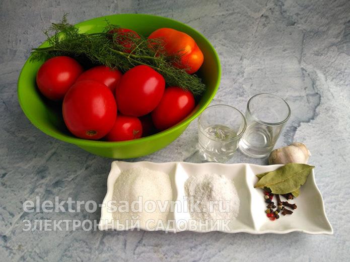 ингредиенты для помидоров в маринаде