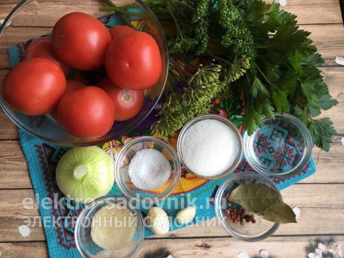 ингредиенты для помидоров в желе