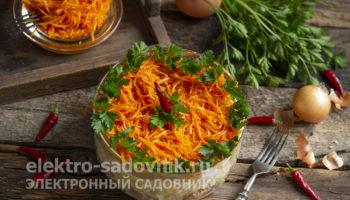 салат из моркови по-корейски с курицей копченой и кукурузой