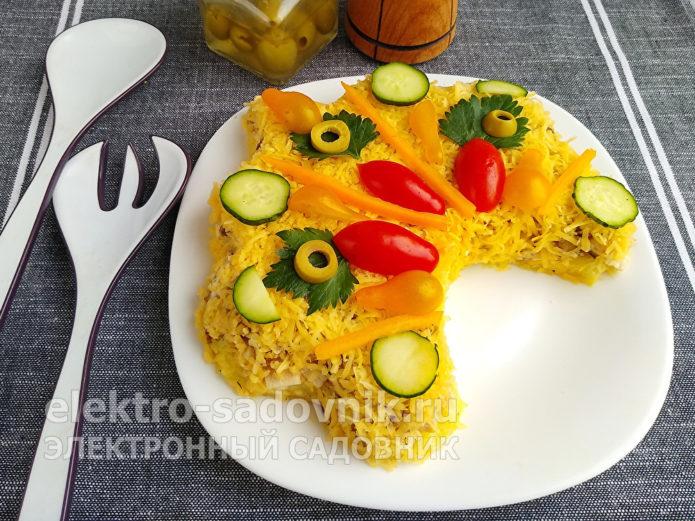 слоеный салат Русская красавица