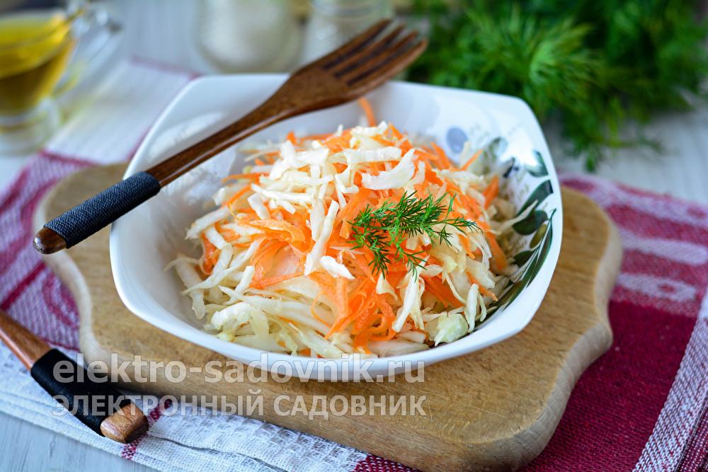 капустный салат с морковью и уксусом, как в столовой