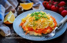 салат Восторг гостей с корейской морковкой и апельсинами